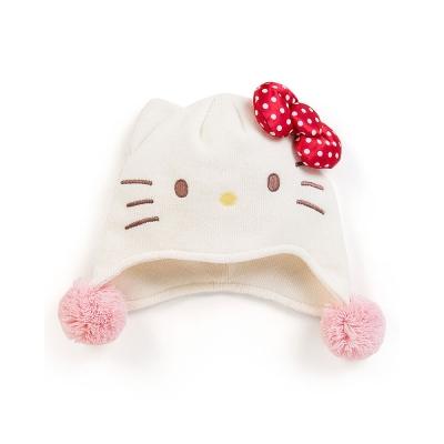 Sanrio HELLO KITTY女童用造型保暖針織帽(點點紅蝴蝶結)
