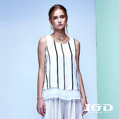 IGD英格麗 都會悠閒風浪漫雪紡黑白撞色條紋背心