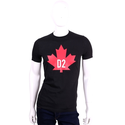 Dsquared2 黑色紅楓葉品牌LOGO棉質短袖T恤