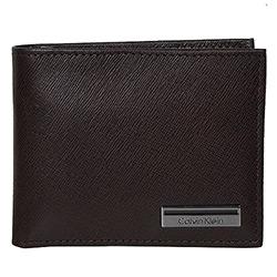 Calvin Klein咖色真皮壓紋雙摺短夾附卡片夾