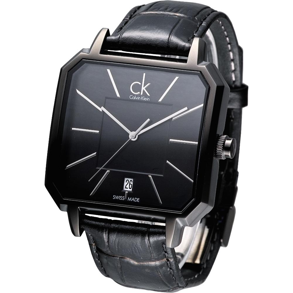 cK  Concept 現代爵士個性時尚腕錶-IP黑/42mm