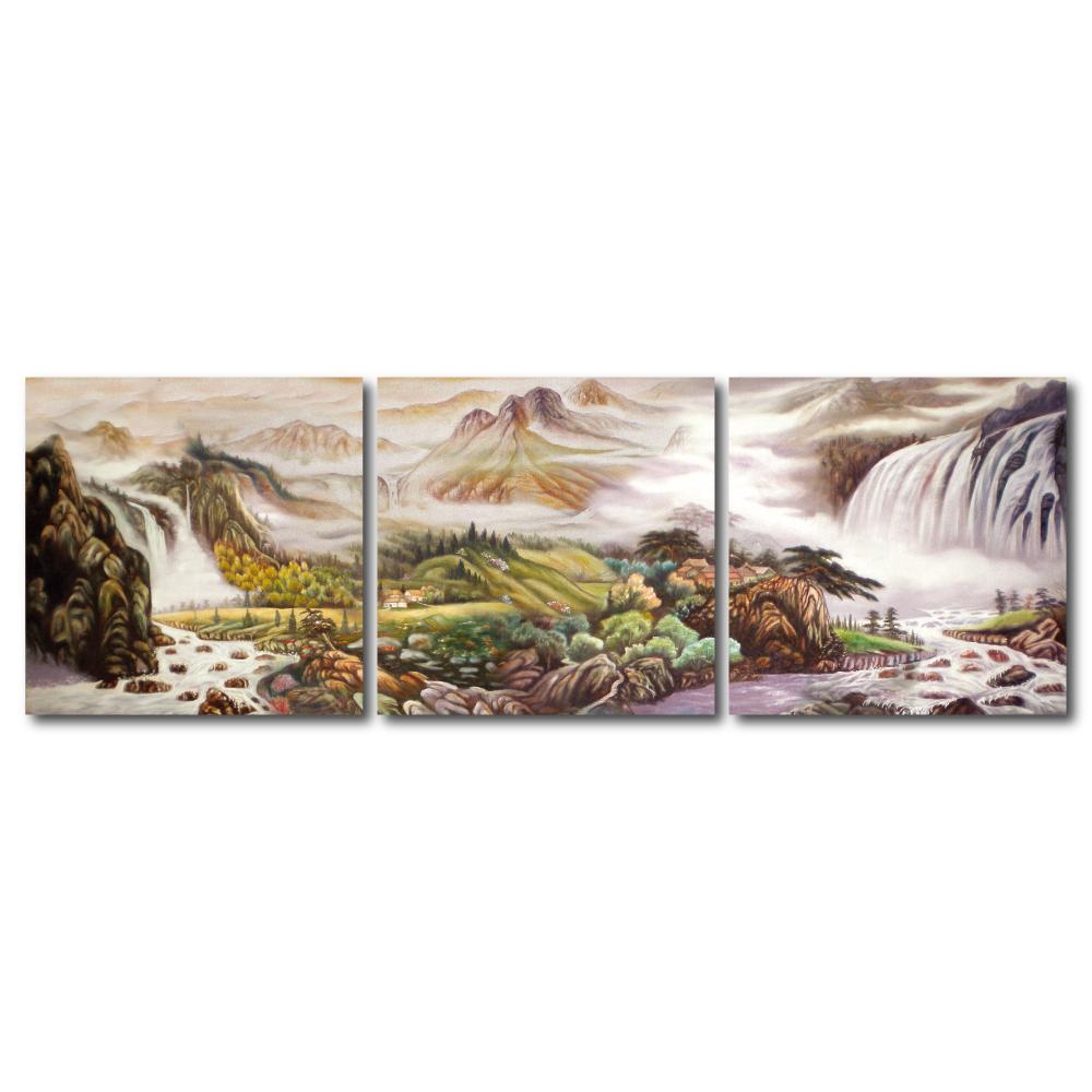 橙品油畫布- 三聯無框圖畫藝術家飾品 - 風起雲蒸40*40cm