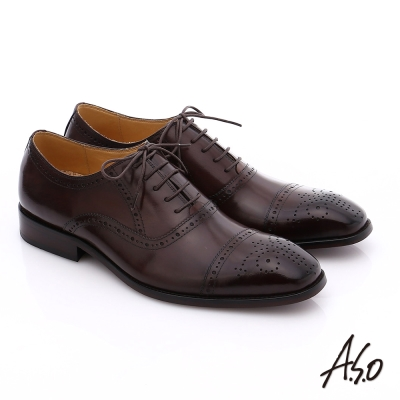 A.S.O 尊榮青紳 全牛皮雕花紳士鞋 茶色