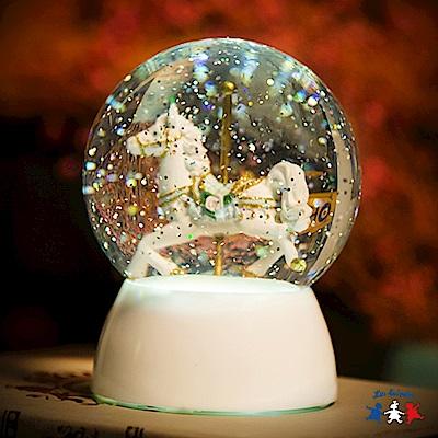 法國三寶貝 水晶球可愛木馬造型LED