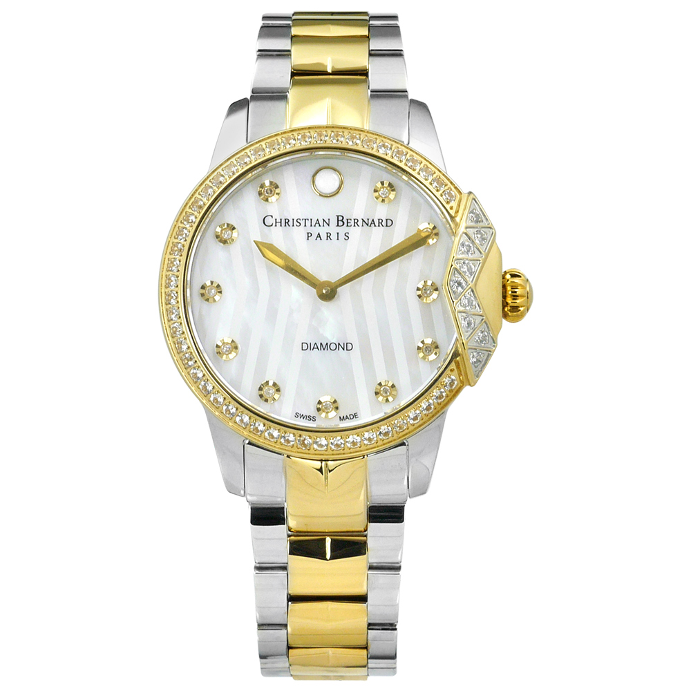 CHRISTIAN BERNARD 伯納錶 真鑽珍珠母貝不鏽鋼手錶-銀x鍍金/34mm