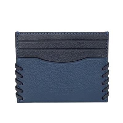 COACH單寧午夜藍編織拼接全皮雙面名片/票卡夾