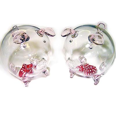 開運陶源  【開運骰子豬 】玻璃豬 一對