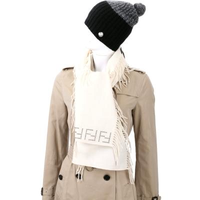 FENDI 米色經典LOGO飾邊流蘇羊毛圍巾(100%WOOL)