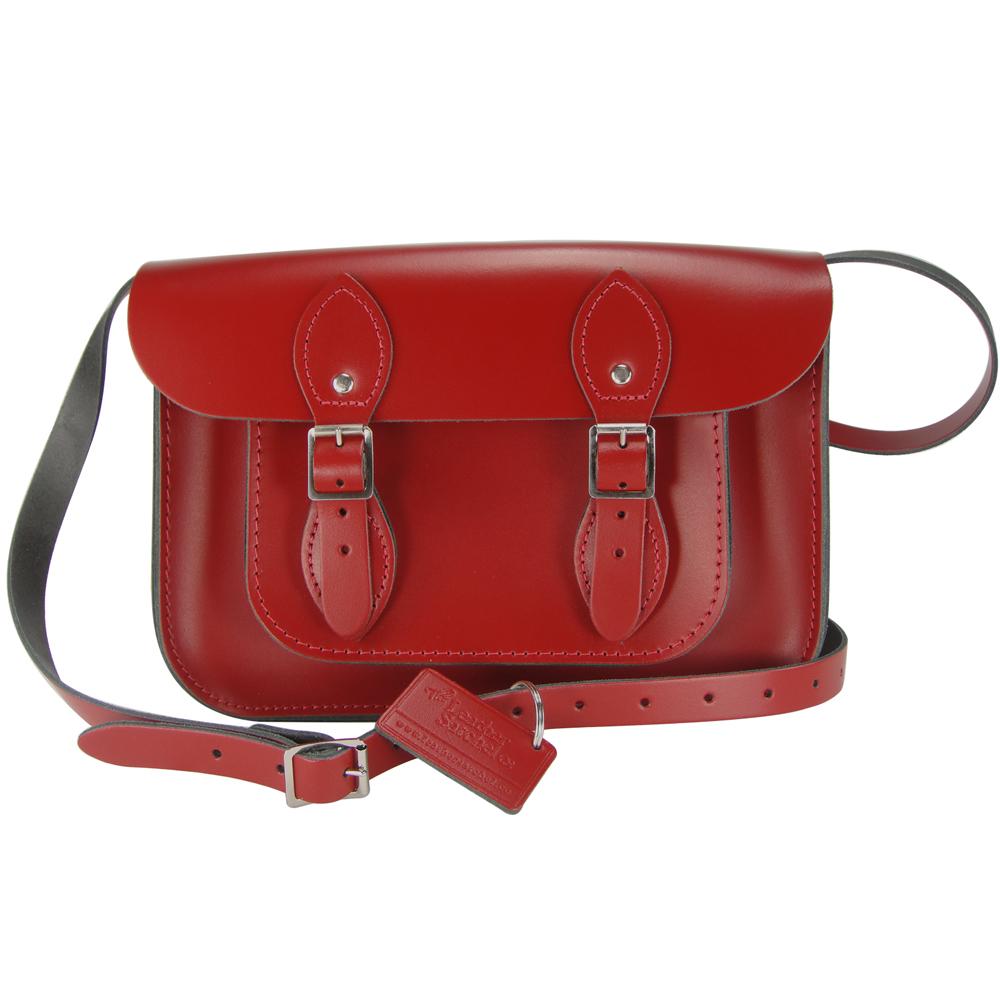 The Leather Satchel 英國手工牛皮劍橋包 肩背 側背包 心機紅 11吋
