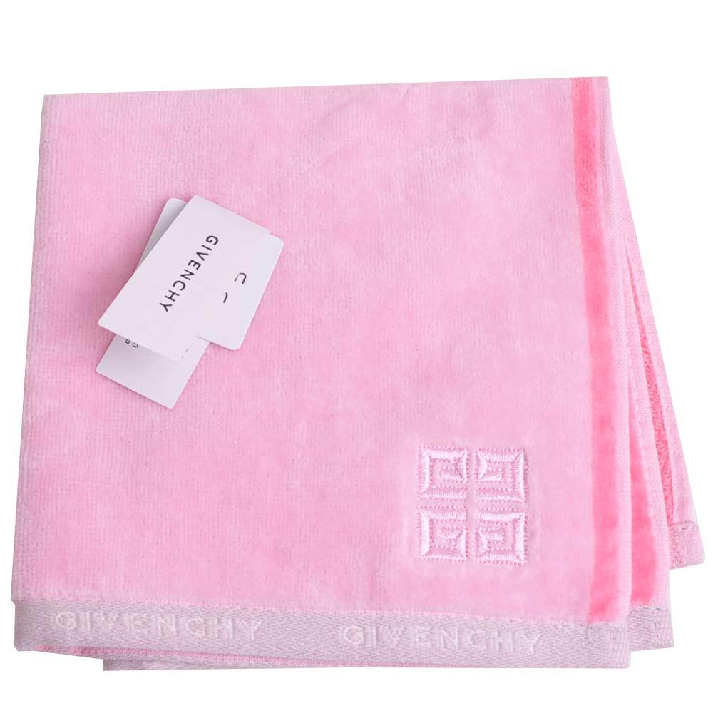 GIVENCHY 經典品牌LOGO刺繡圖騰小方巾(粉紅)
