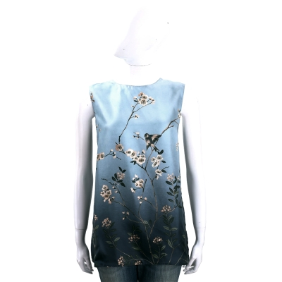 Max Mara-'S Max Mara 灰藍漸層花鳥圖騰絲質無袖上衣