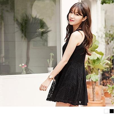 浪漫鏤空蕾絲削肩設計傘襬洋裝.2色-OB嚴選