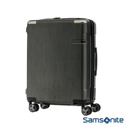 Samsonite新秀麗20吋 Evoa 拉絲光澤防盜拉鍊抗震輪TSA硬殼登機箱(黑)