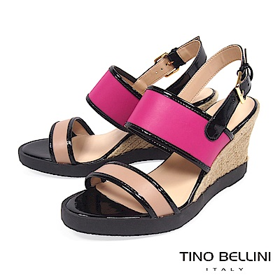 Tino Bellini巴西進口玩色楔形涼鞋_ 桃紅