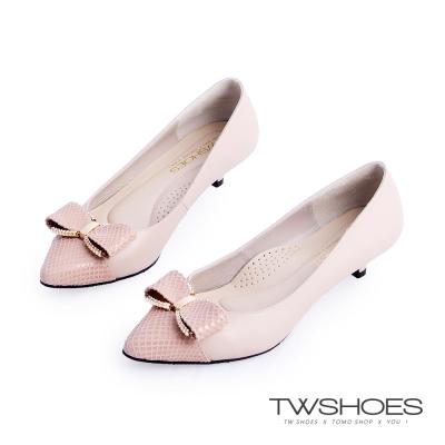 TWshoes真皮典雅鑲鑽蝴蝶結低跟包鞋-杏