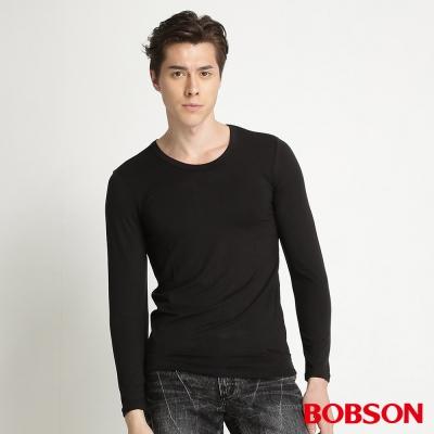 BOBSON 男款圓領保暖內搭衣(黑88)