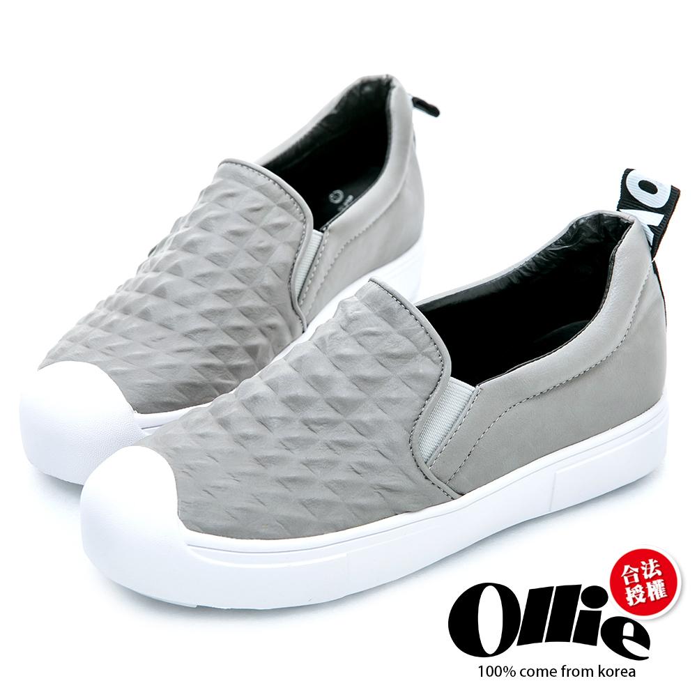 Ollie韓國空運-立體菱格紋奶油平底懶人鞋-灰