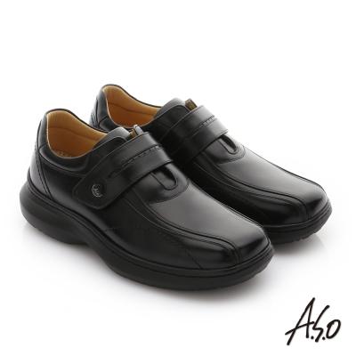 A.S.O 奈米健康氣墊 油感牛皮魔鬼氈紳士休閒皮鞋 黑色
