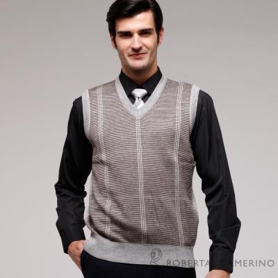 ROBERTA諾貝達 台灣製 抗起毛球 型男款毛衣背心 灰色
