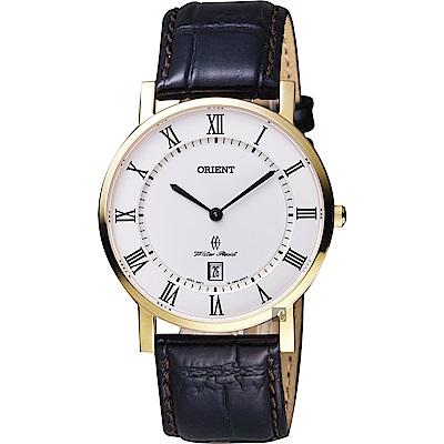 ORIENT東方羅馬復刻手錶-白x金框x咖啡38mm