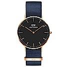 DW DanielWellington 經典風尚手錶-黑X玫瑰金框X藍帶/40mm