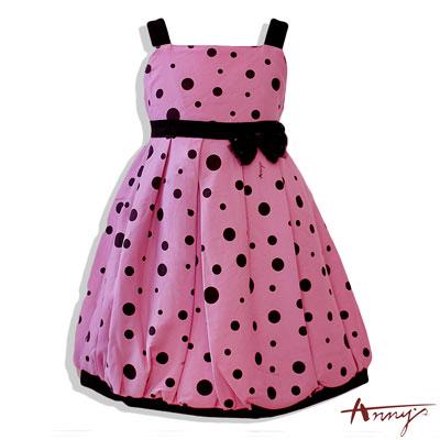 普普點點風背心蝴蝶結洋裝洋裝*4229粉