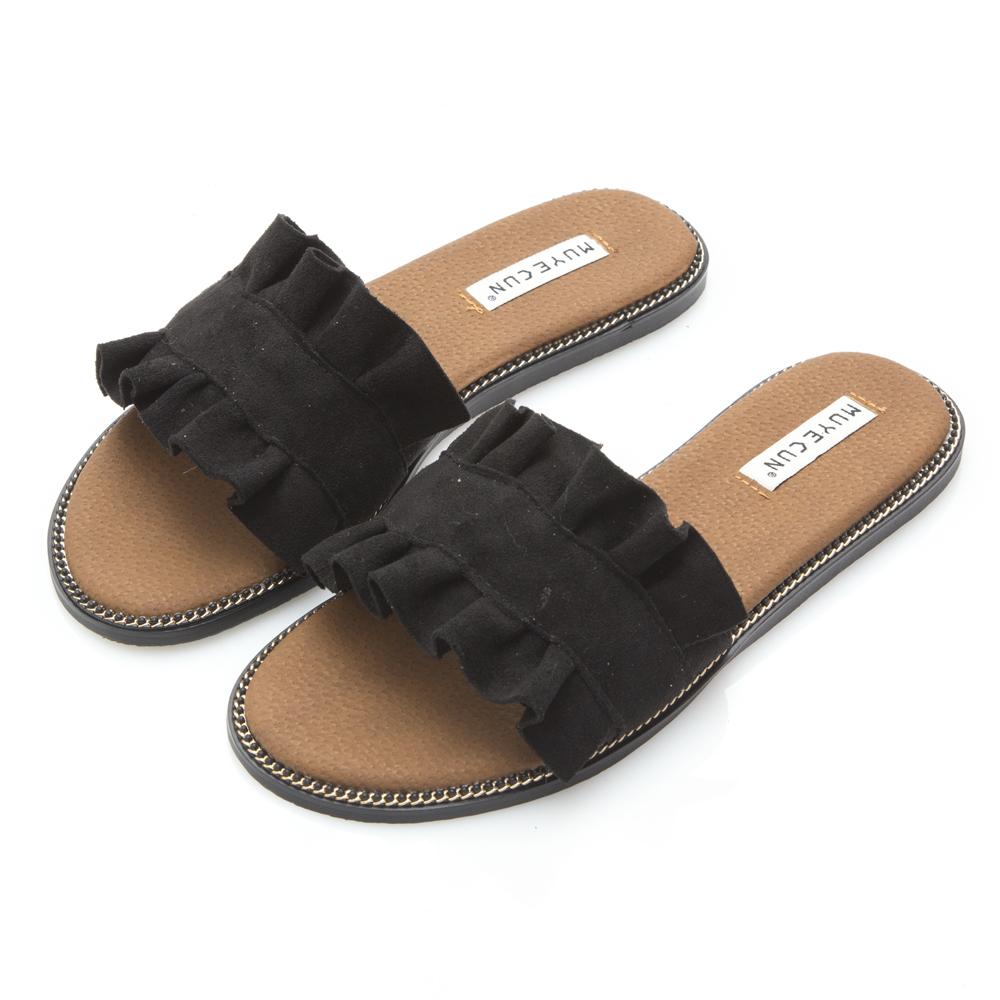 JMS-甜美荷葉邊一字寬帶 平底涼拖鞋-黑色