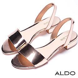 ALDO 原色寬版一字拉帶式粗跟涼鞋~香檳金色