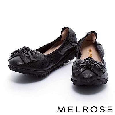 娃娃鞋 MELROSE 扭轉皮花蝴蝶結超軟Q全真皮娃娃鞋-黑