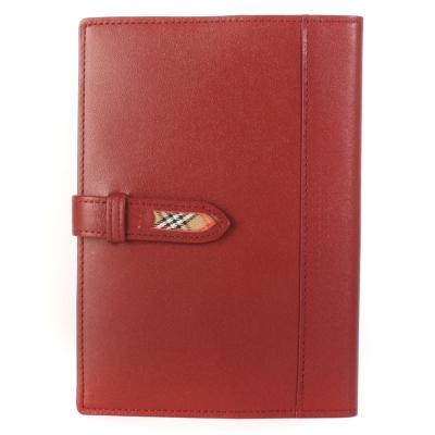 BURBERRY經典飾邊格紋中型穿扣皮革手帳冊-紅色