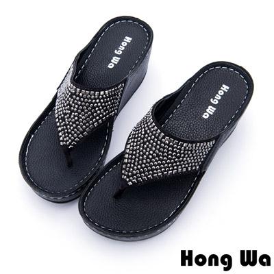 Hong Wa - 浪漫風格水鑽貼飾休閒涼拖鞋 - 黑