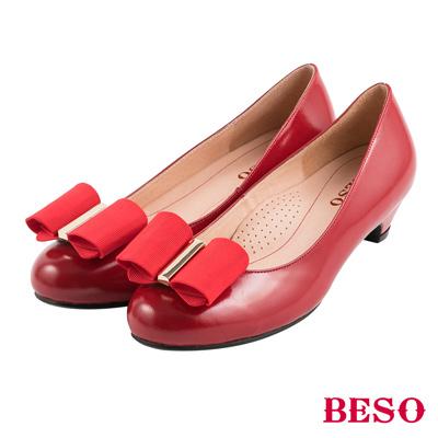 BESO清秀佳人  2ways穿法蝴蝶結與條紋織帶全真皮跟鞋~紅