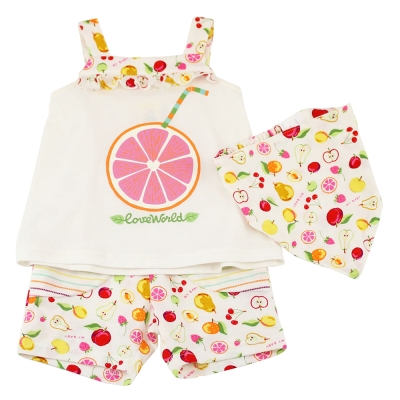 愛的世界 MYBABY 純棉水果百匯肩帶套裝/1~3歲