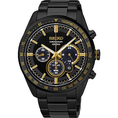 SEIKO Criteria 極速風暴限量太陽能計時碼錶(SSC473P1)-黑/42mm