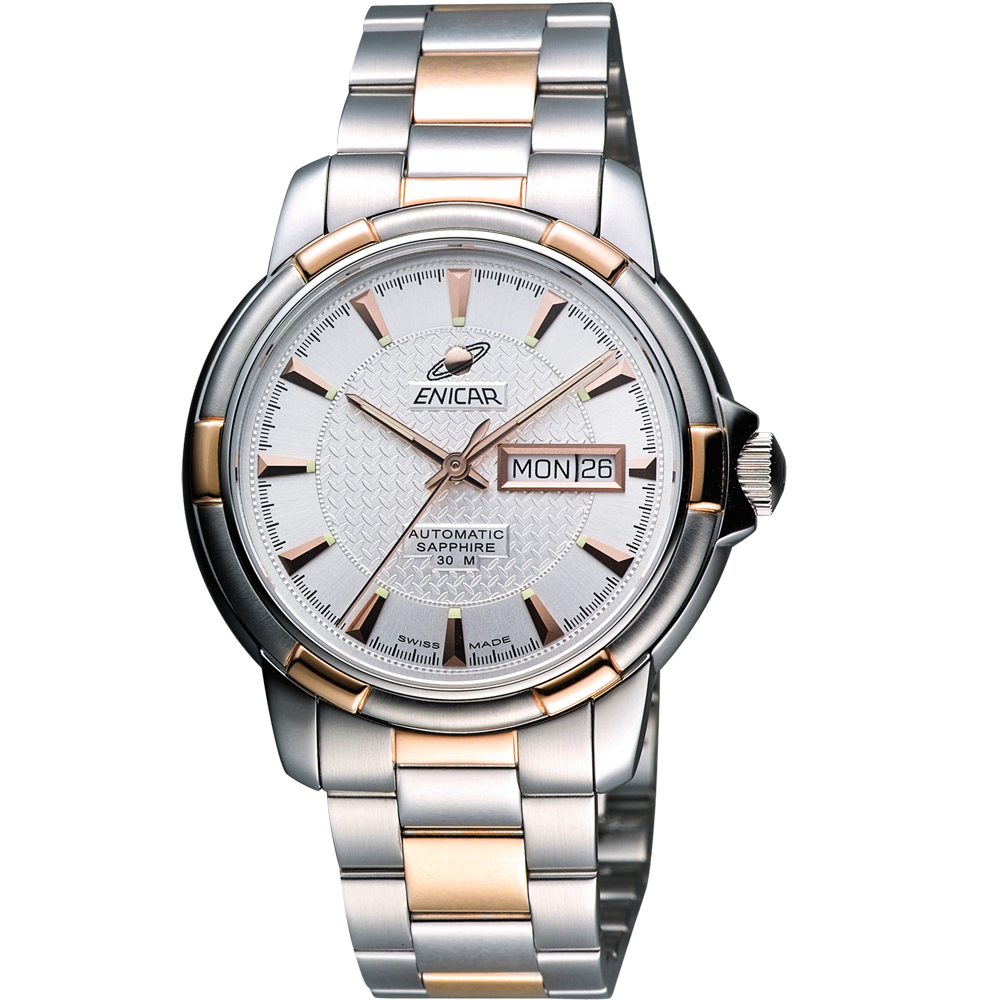 ENICAR 英納格 航行經典日曆機械腕錶-銀/雙色版/40mm