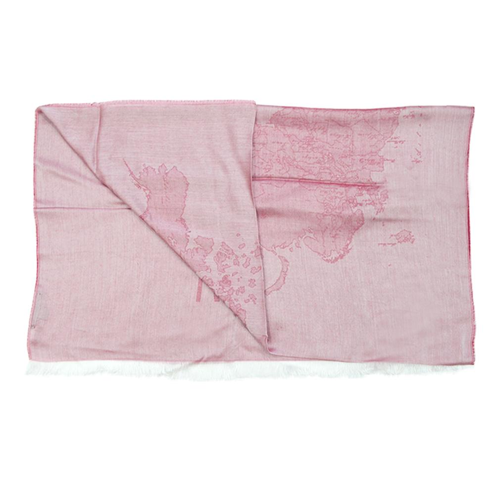 Alviero Martini 義大利地圖 復古渲染地圖絲巾-紅(80X180)