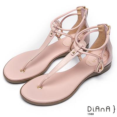 DIANA 簡約韓風--金屬水滴型鏤空夾腳涼鞋–粉