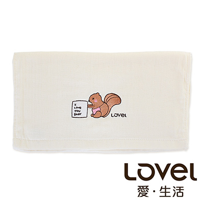 Lovel 天然有機棉紗布毛巾-松鼠Mama