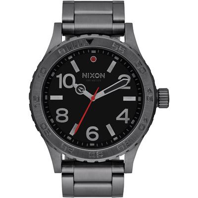 NIXON  46  品牌潮流躍動運動腕錶-灰框黑/ 45 mm