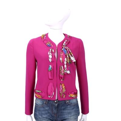 BOUTIQUE MOSCHINO 桃紅色印花絲巾滾邊設計外套