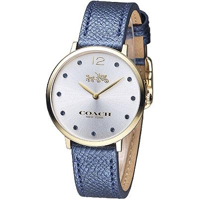COACH 原色簡約晶鑽女錶-珍珠藍色(14502687)/35mm