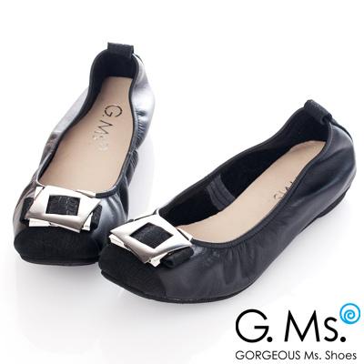 G.Ms. MIT系列-拼接鱷魚紋金屬飾釦牛皮娃娃鞋-貴族黑