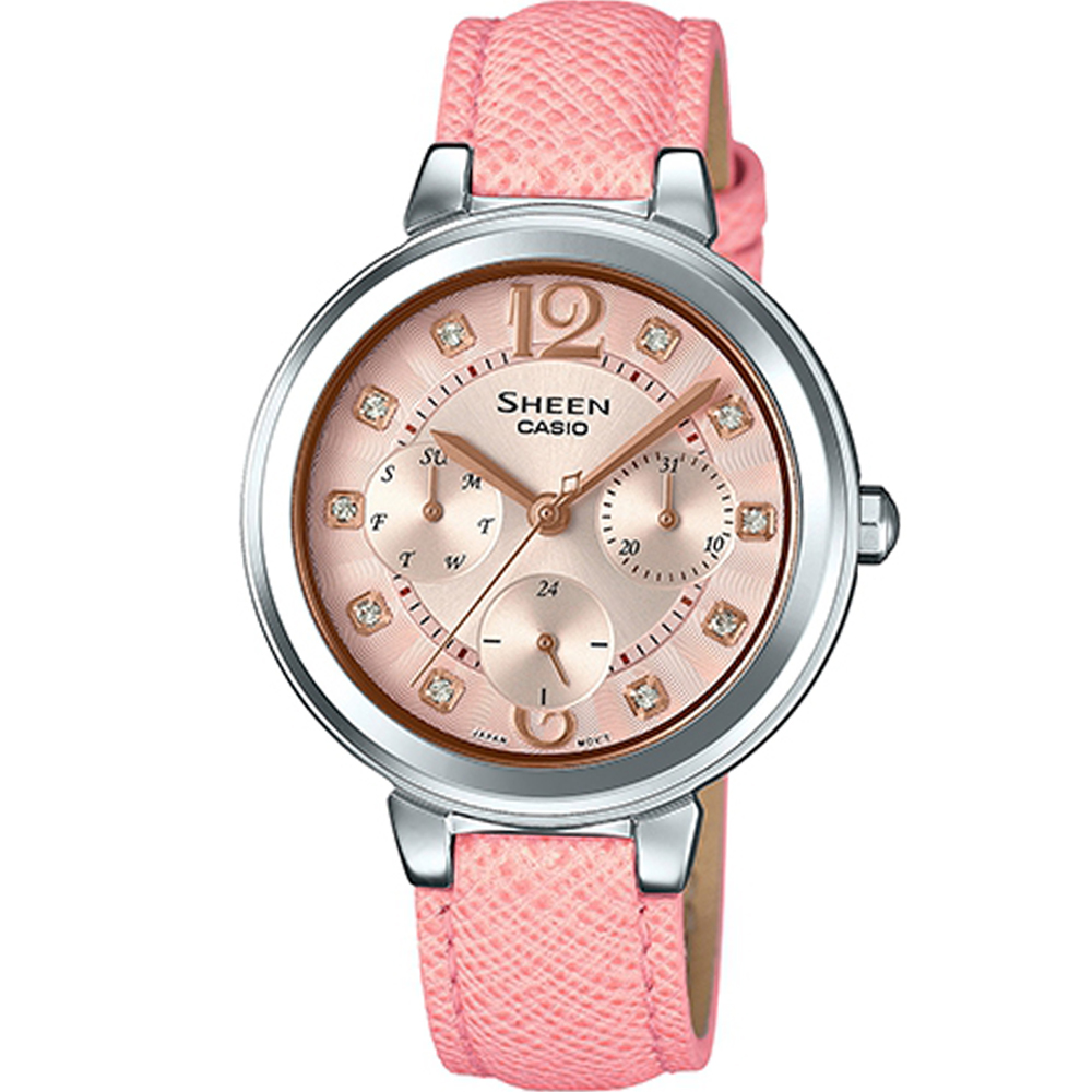 SHEEN 粉嫩新色皮帶錶(SHE-3048L-4A)粉/34mm