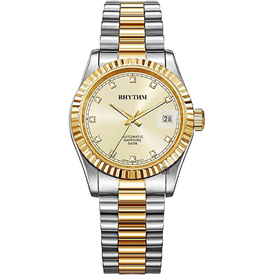 RHYTHM日本麗聲 尊爵晶鑽機械日期手錶-金x雙色/ 40 mm