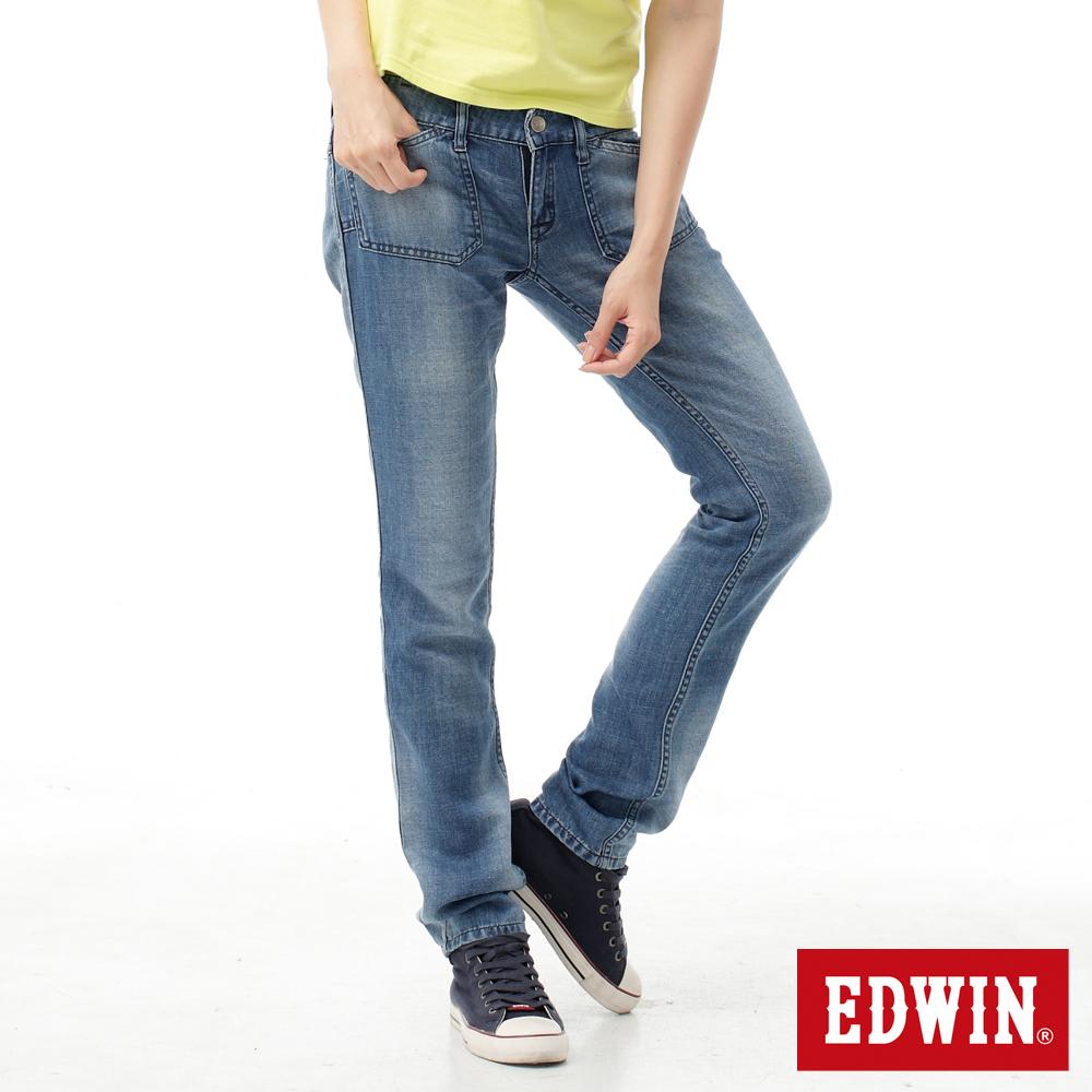 EDWIN 聚焦亮眼 COOL 雙面穿窄管牛仔褲-女款石洗藍