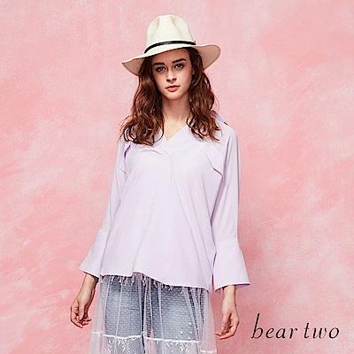 beartwo 寬型V領喇叭袖襯衫(二色)