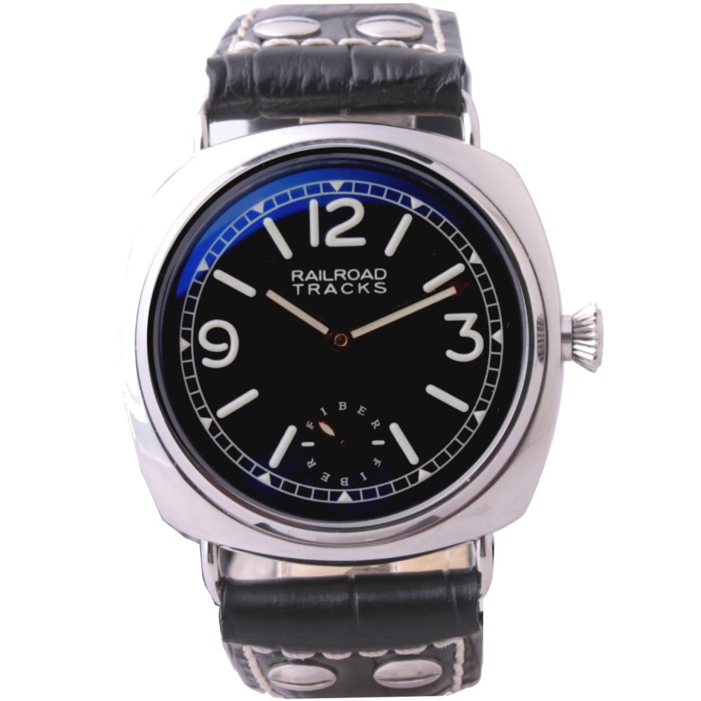 FIBER 法柏獨立秒盤手動上鍊機械腕錶-黑/42mm
