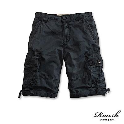 ROUSH (迷彩)單釦設計雙口袋高磅數水洗短褲 (五色)