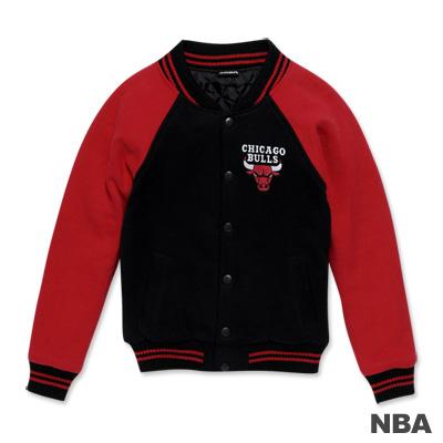 NBA-芝加哥公牛隊繡花LOGO鋪綿棒球外套-黑色(女)