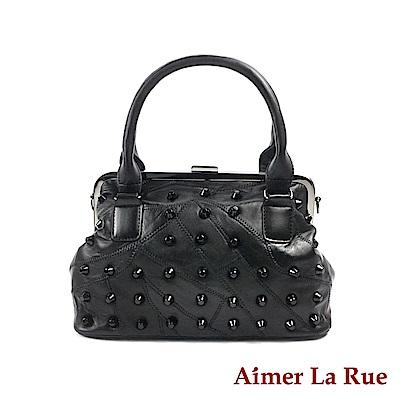 Aimer La Rue 手提醫生包 羊皮復古鉚釘系列(黑色)